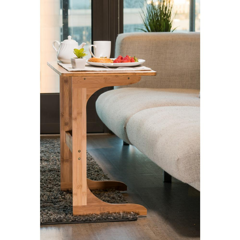24 in. Brown Long End Bamboo Table