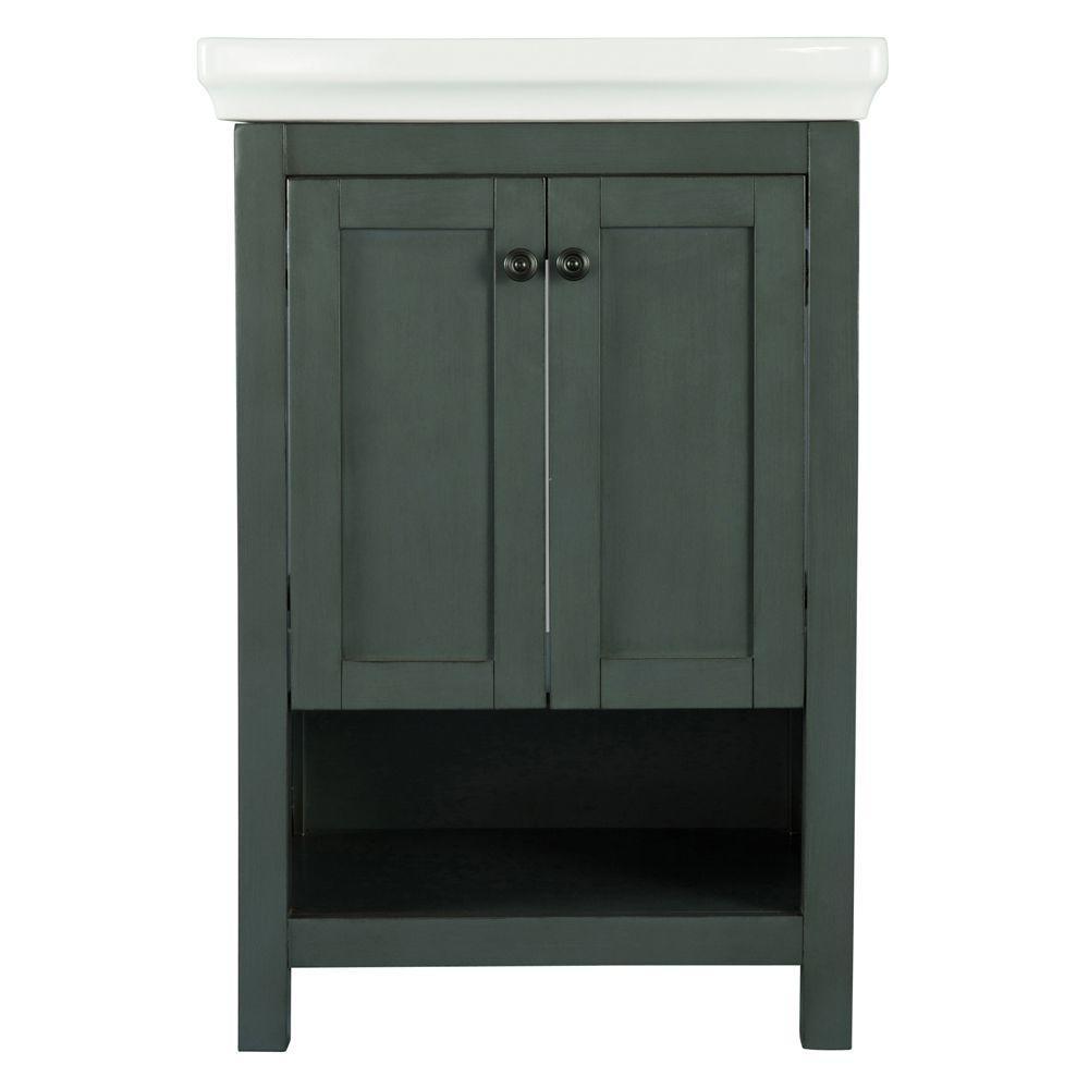 Hanley 23-3/4 in. W x 18 in. D Bath Vanity in Charcoal Grey with Porcelain Vanity Top in White