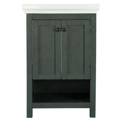 Hanley 23-3/4 in. W x 18 in. D Bath Vanity in Charcoal Grey with Porcelain Vanity Top in White