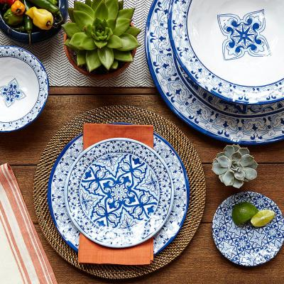 Talavera 12 in. Blue Melamine Serving Bowl