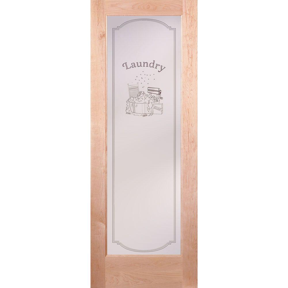 Feather River Doors 36 In. X 80 In. 1 Lite Unfinished Maple Laundry  Woodgrain