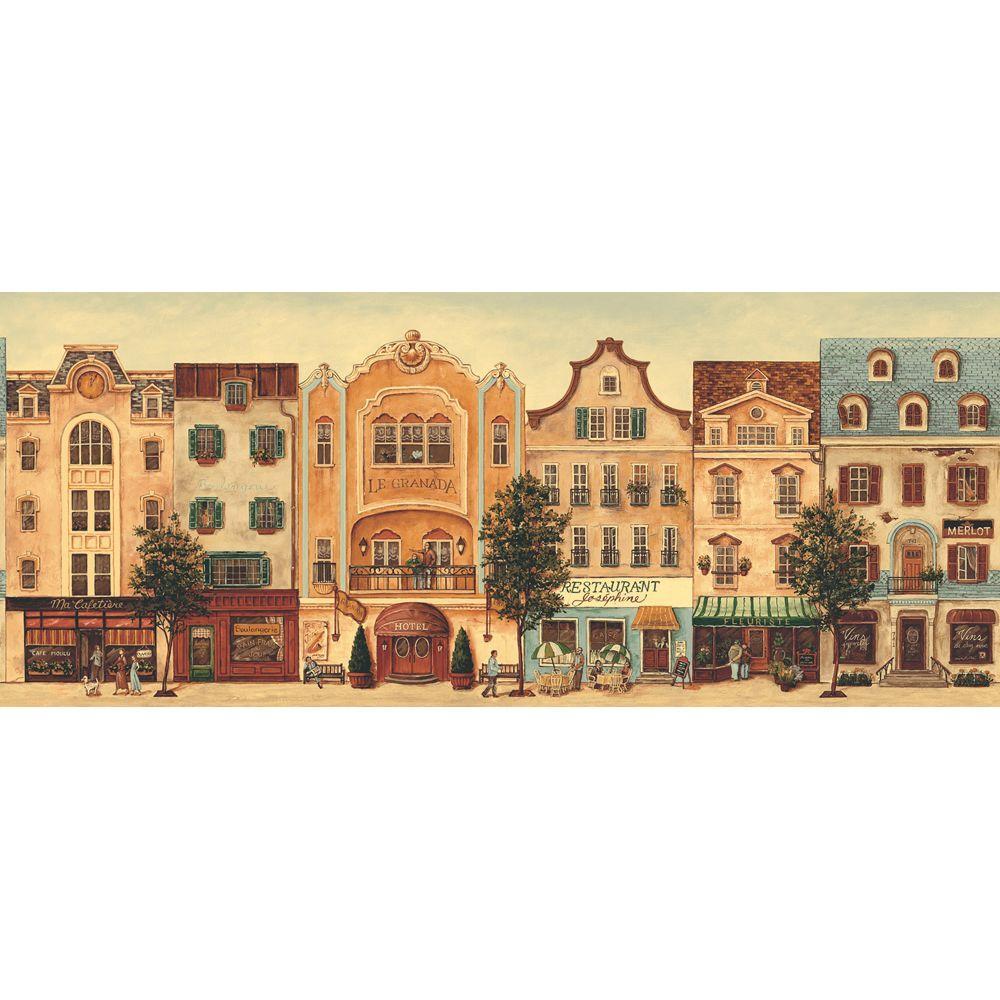 The Wallpaper Company 8 in. x 10 in. Earth Tone Main Street Border Sample