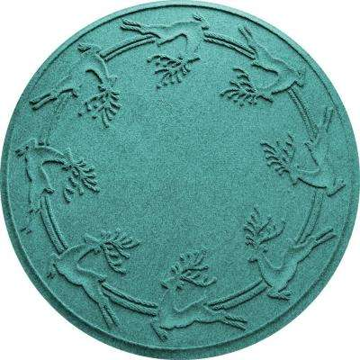 Aquamarine 35 in. Round Reindeer Run Under the Tree Mat