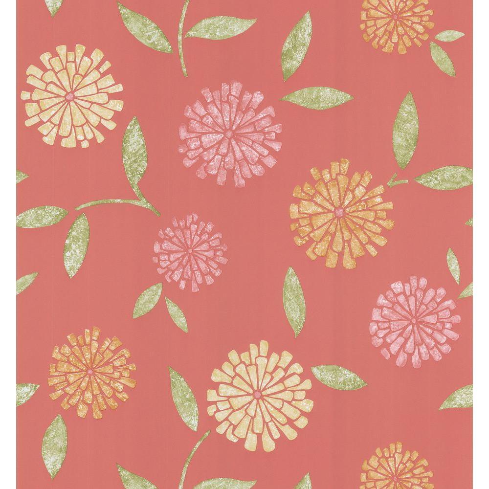 Brewster 56 sq. ft. Zinnia Flower Wallpaper