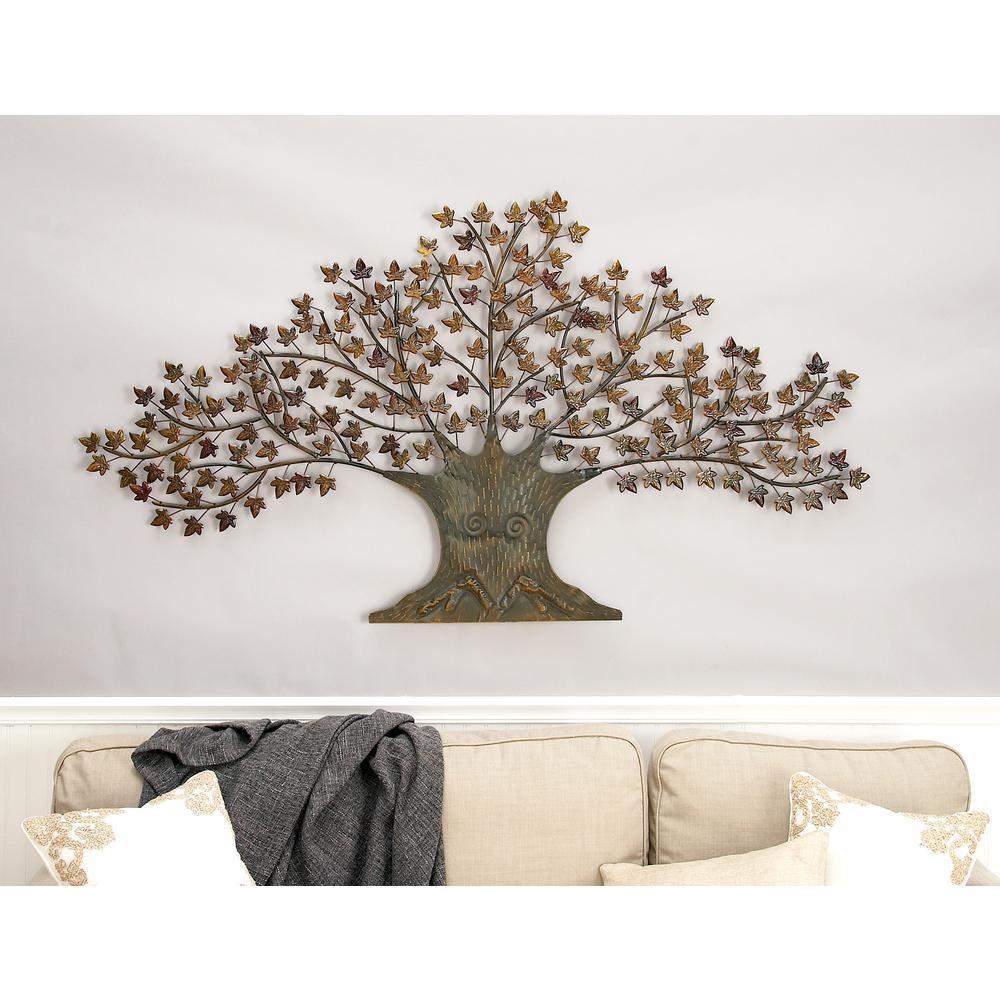 a2bbdc9d11 Litton Lane Iron Copper Brown Oak Tree Wall Decor 44530 - The Home Depot