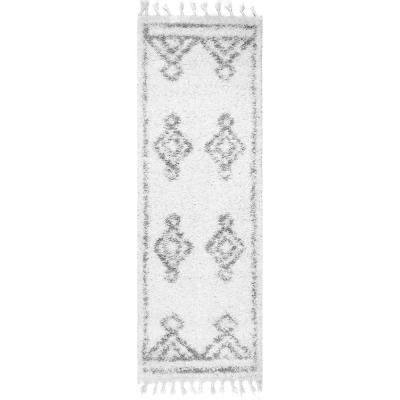 Mackie Moroccan Diamond Shag White 3 ft. x 8 ft. Indoor Runner Rug