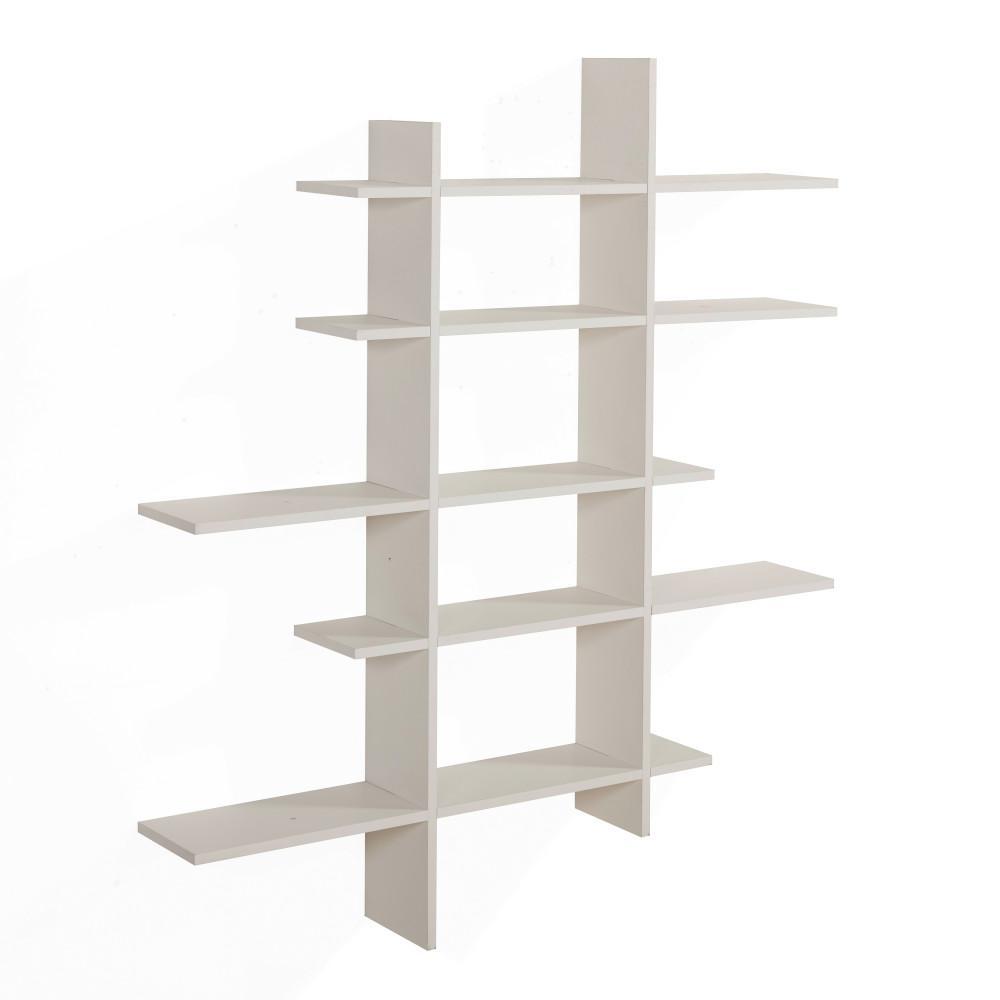 White MDF 5-Level Asymmetric Floating Shelf