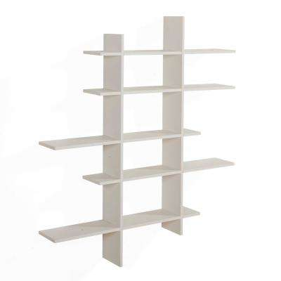 White MDF 5-Level Asymmetric Floating Shelf