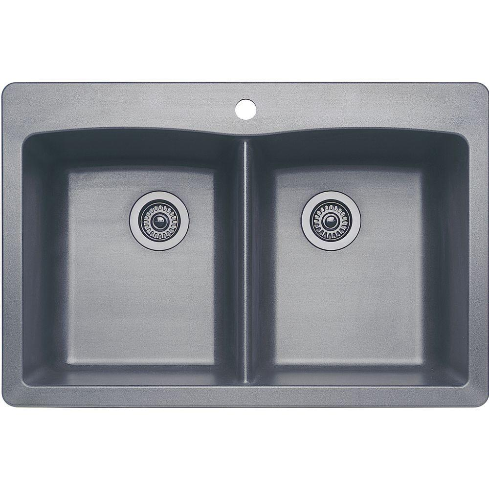 Blanco Diamond Dual Mount Granite Composite 33 in. 1-Hole Equal Double Basin Kitchen Sink in Metallic Gray