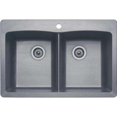Diamond Dual Mount Granite Composite 33 in. 1-Hole Equal Double Bowl Kitchen Sink in Metallic Gray