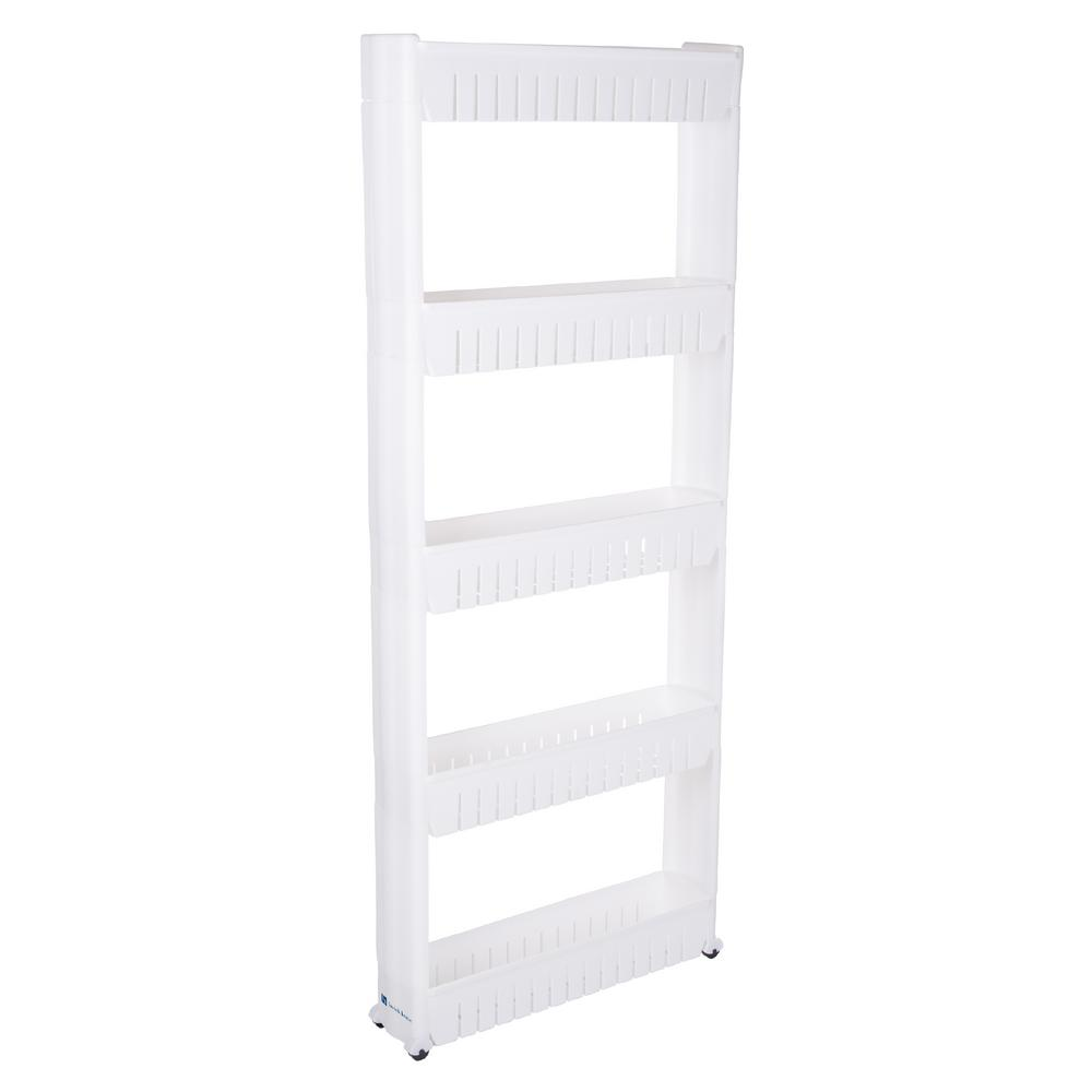 Lavish Home 5 Tier 4 Wheeled Pvc Slim Slide Out Pantry In