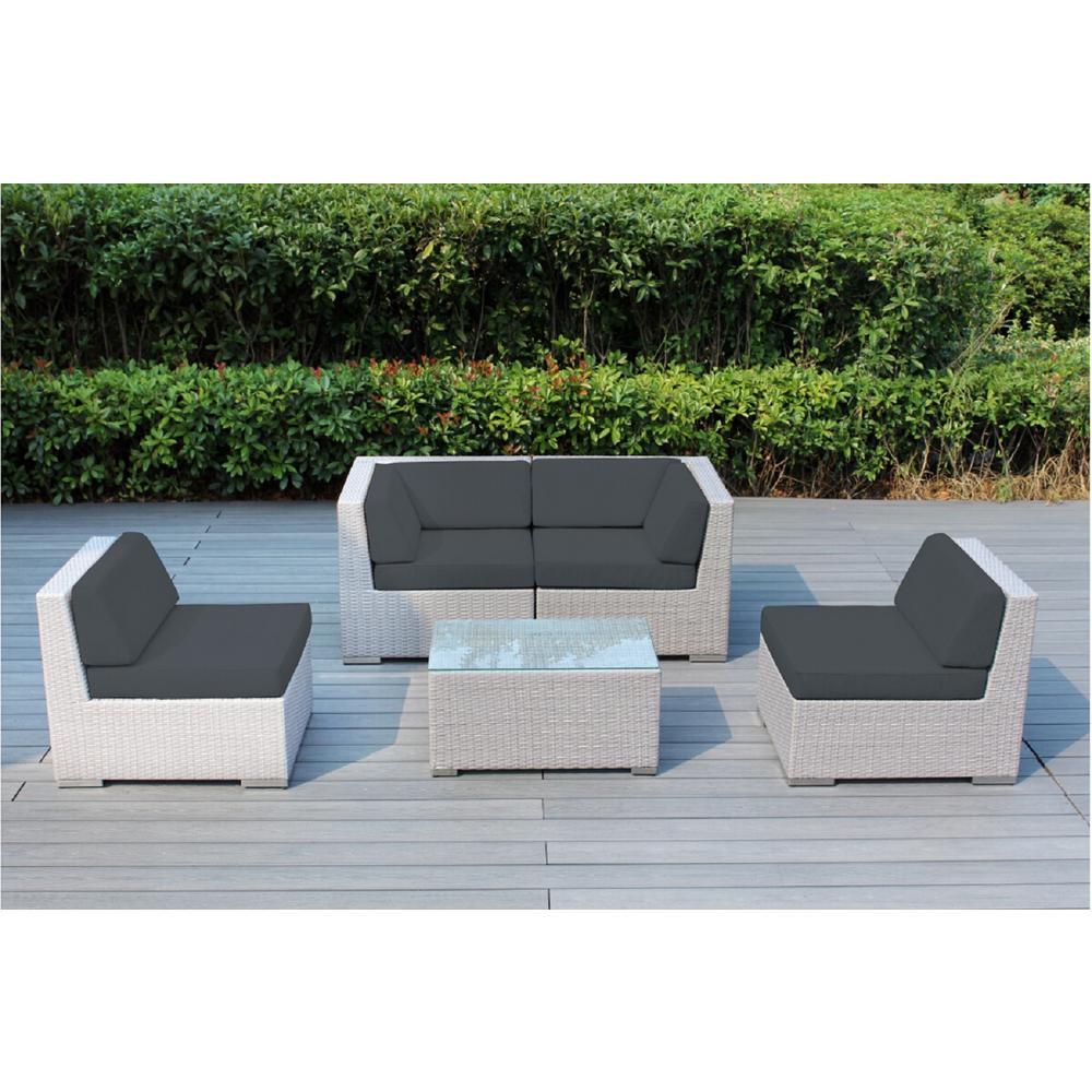 Ohana Gray 5-Piece Wicker Patio Seating Set with Spuncrylic Gray Cushions