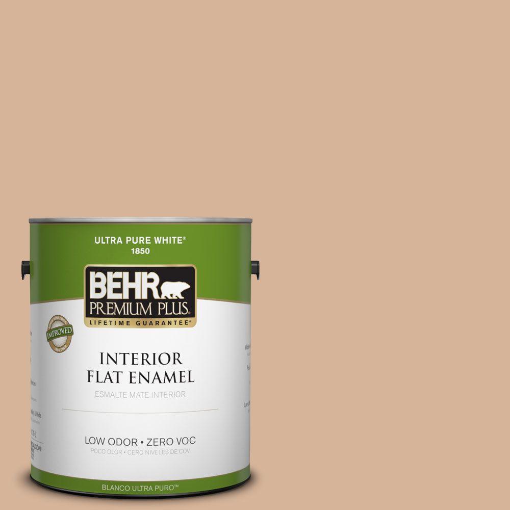 BEHR Premium Plus 1-gal. #ECC-40-1 Canewood Zero VOC Flat Enamel Interior Paint-DISCONTINUED
