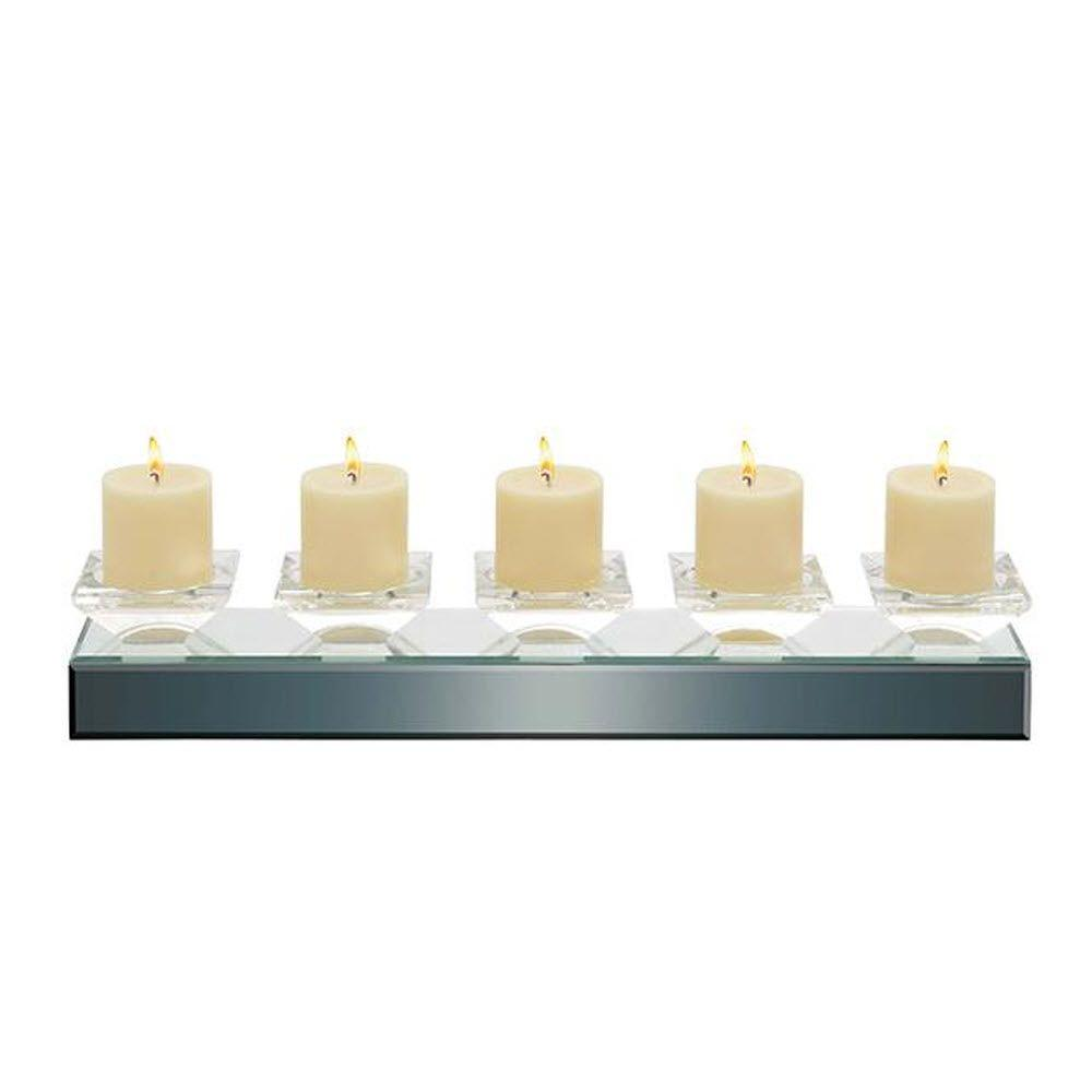 Home Decorators Collection Alda 4 in. H Clear Mirror 5-Candle Holder