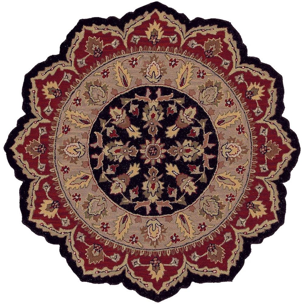 LR Resources Traditional Shape Black and Red 7 ft.9 in. Star Plush Indoor Area Rug