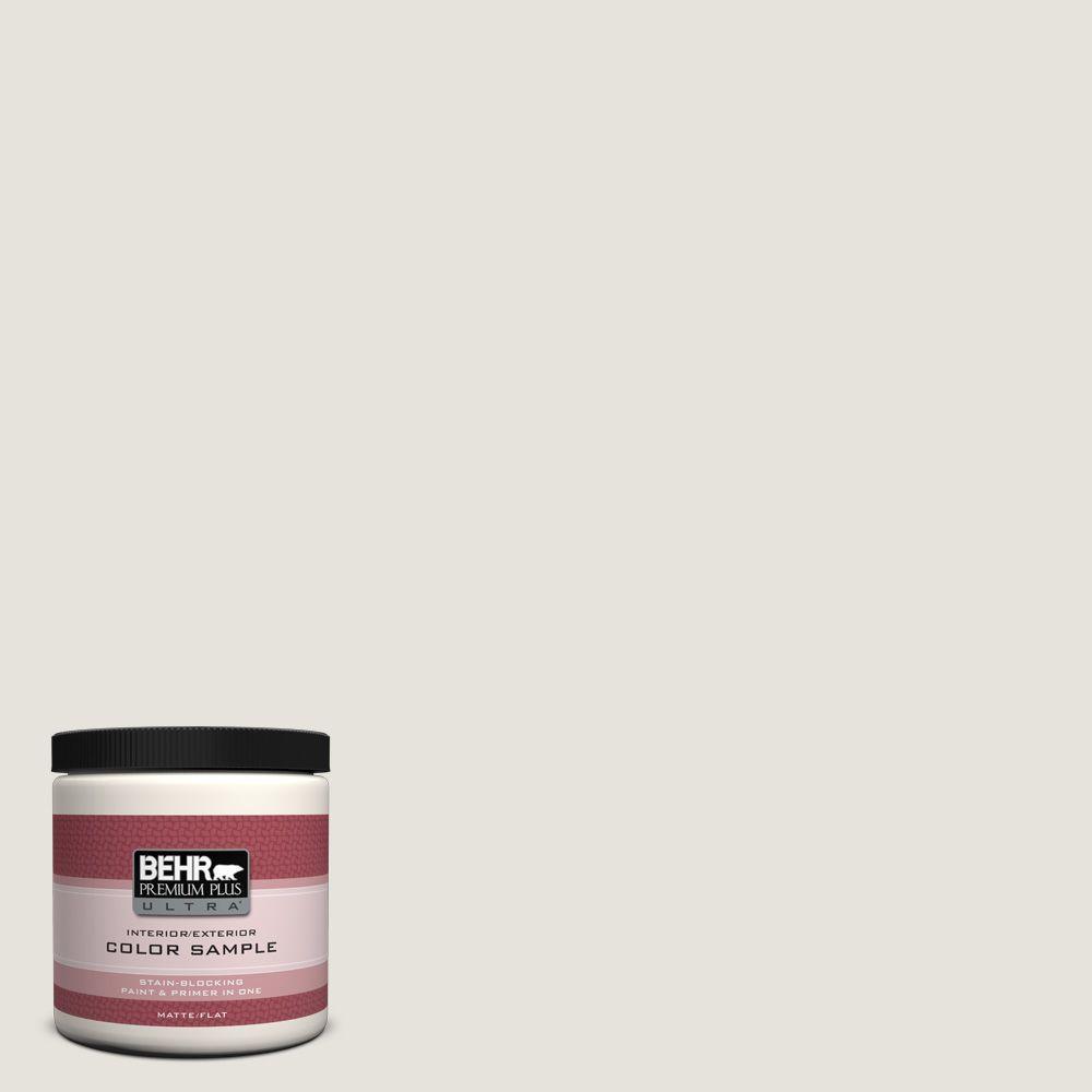 BEHR Premium Plus Ultra 8 oz. Home Decorators Collection #HDC-NT-21 Weathered White Matte Interior/Exterior Paint & Primer Sample