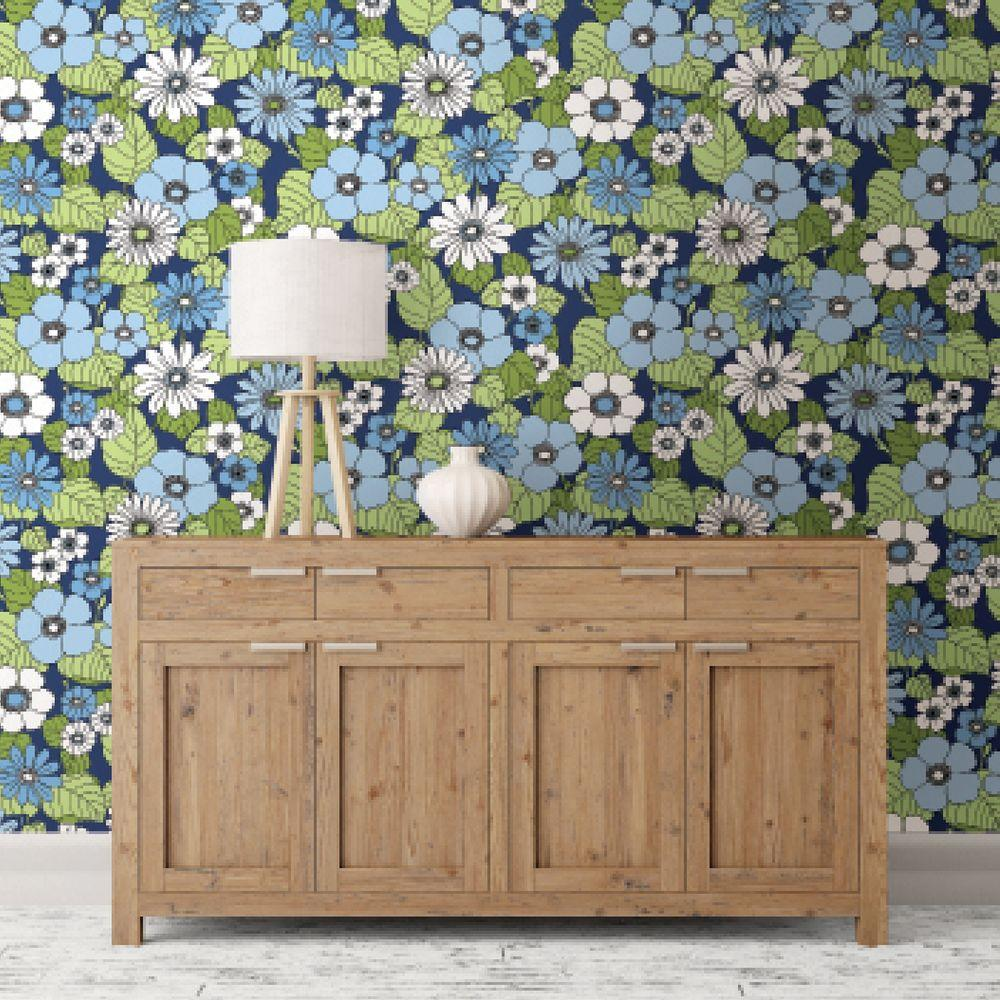 Capriana Navy Floral Burst Wallpaper Sample