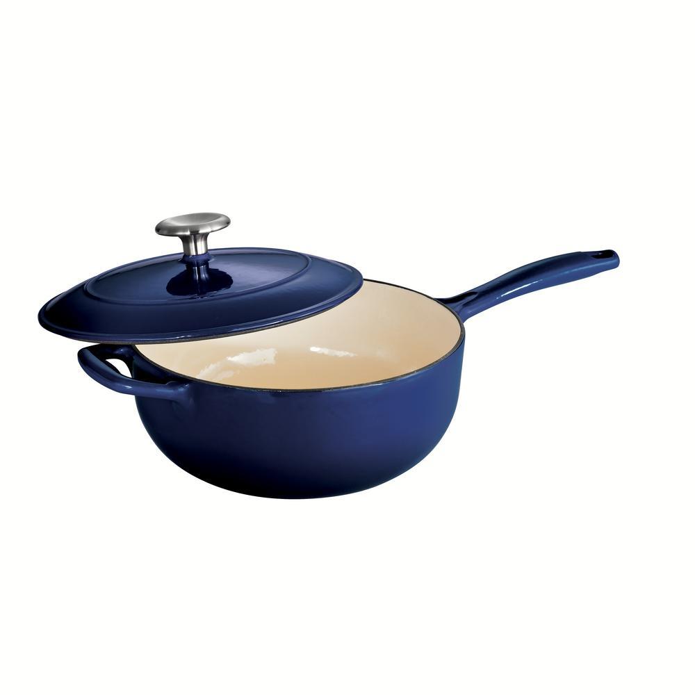 Gourmet 3 qt. Porcelain-Enameled Cast Iron Saucier in Gradated Cobalt with Lid