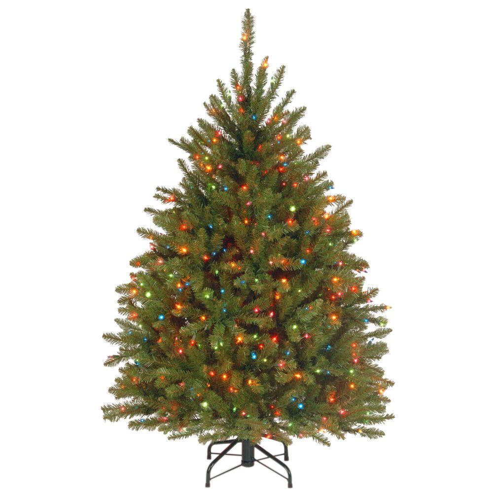 National Tree Company 4 5 Ft Dunhill Fir Artificial Christmas Tree With Multicolor Lights