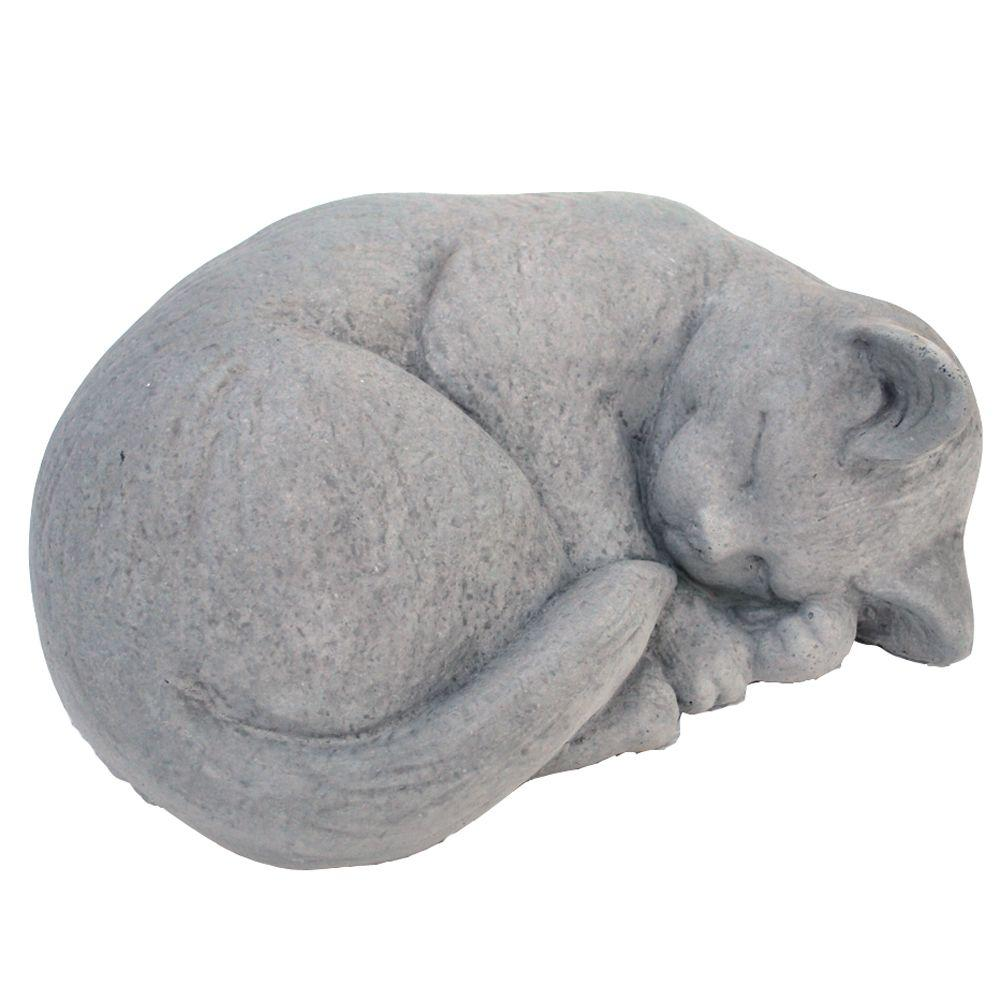 Captivating Cast Stone Small Curled Cat Garden Statue Antique Gray