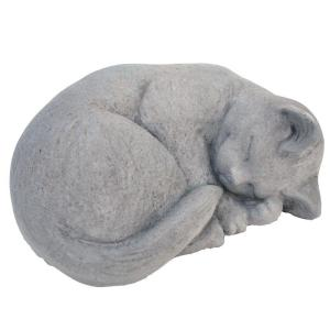 cat garden statue. cast stone small curled cat garden statue antique gray-gnccrls-ag - the home depot t