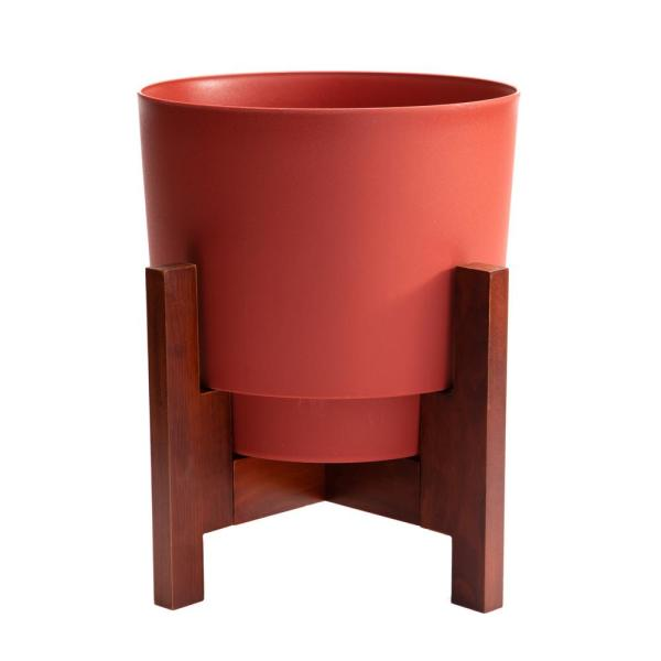Hopson Medium 14 in. Burnt Red Plastic Planter with Wood Stand