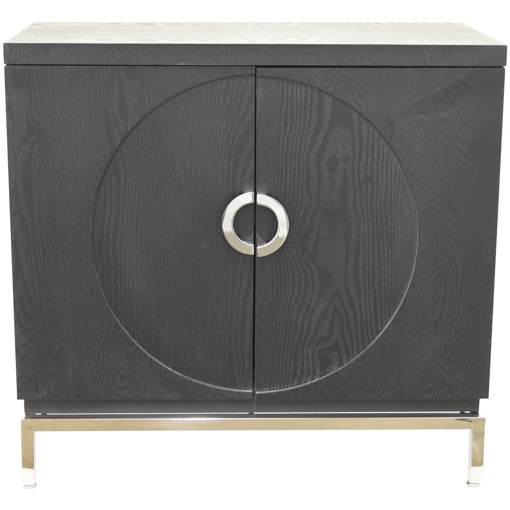 Three Hands Black Wood Cabinet With 2 Doors 98530 The Home Depot