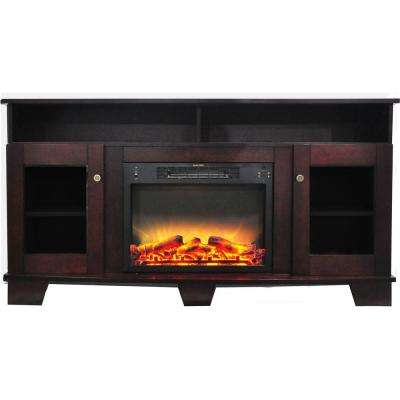Savona 59 in. Electric Fireplace in Mahogany with Entertainment Stand and Enhanced Log Display