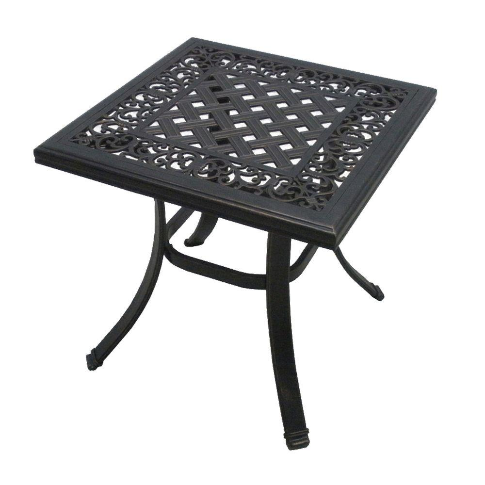 Home Decorators Collection Marion Brown 22 in. H x 22 in. W Square Cast Top Patio Side Table