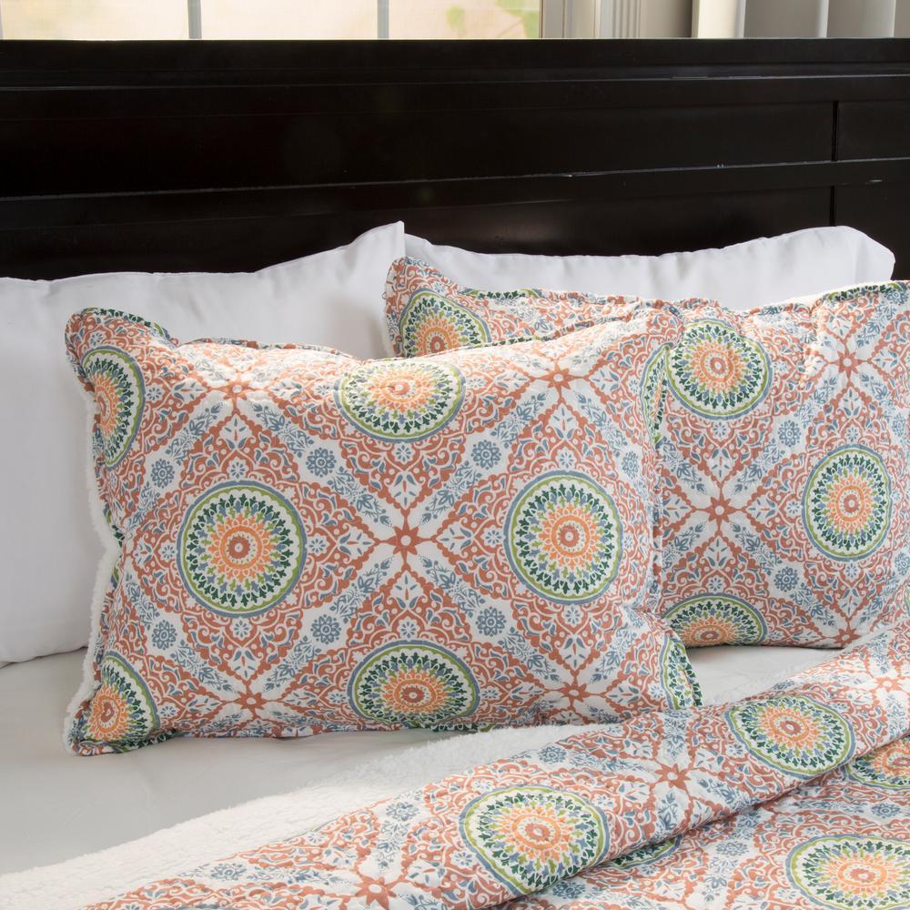 Lavish Home Emilia Orange Geometric King Quilt
