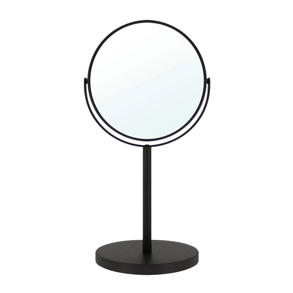 MODONA 6 in. 2-Sided 1X and 5X Counter Top 14 in. Magnifying Makeup Mirror in Rubbed Bronze