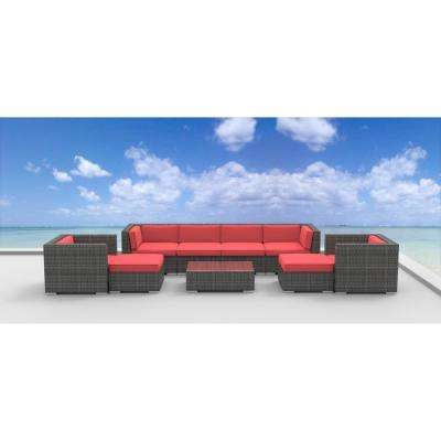 Fiji 9-Piece Wicker Outdoor Sectional Seating Set with Coral Red Cushions