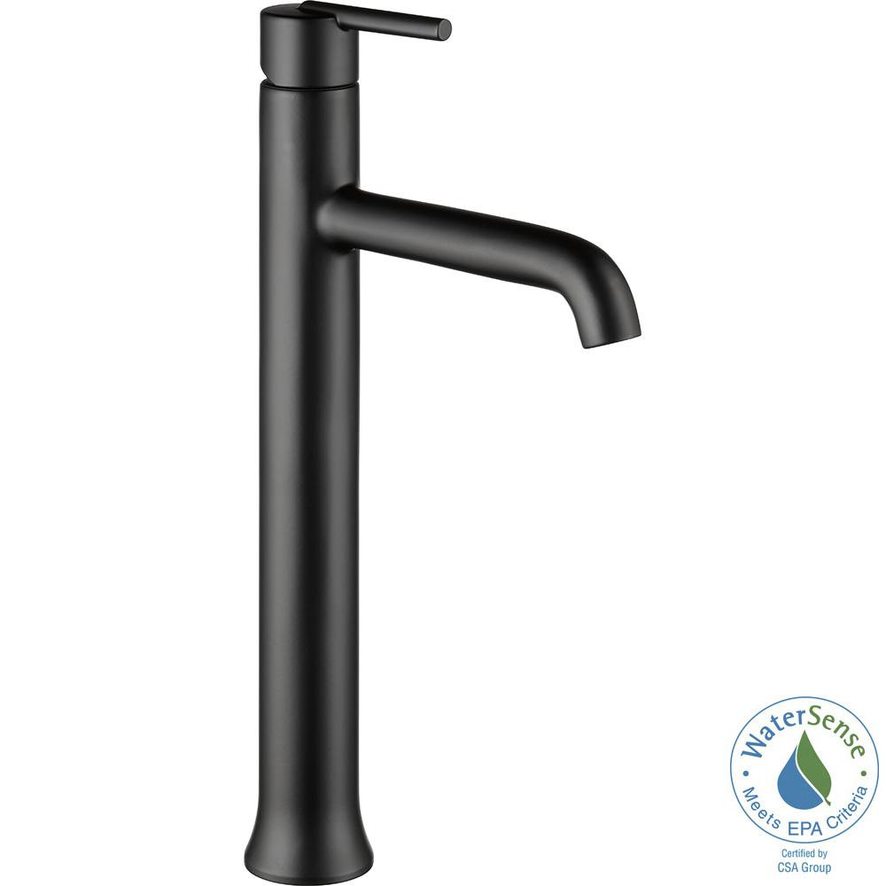 Delta Trinsic Single Hole Single-Handle Vessel Bathroom Faucet in Matte Black