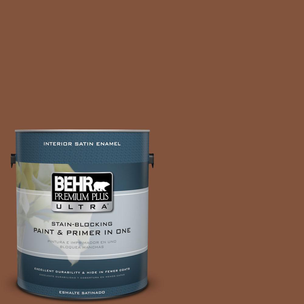 BEHR Premium Plus Ultra 1-gal. #230F-7 Florence Brown Satin Enamel Interior Paint