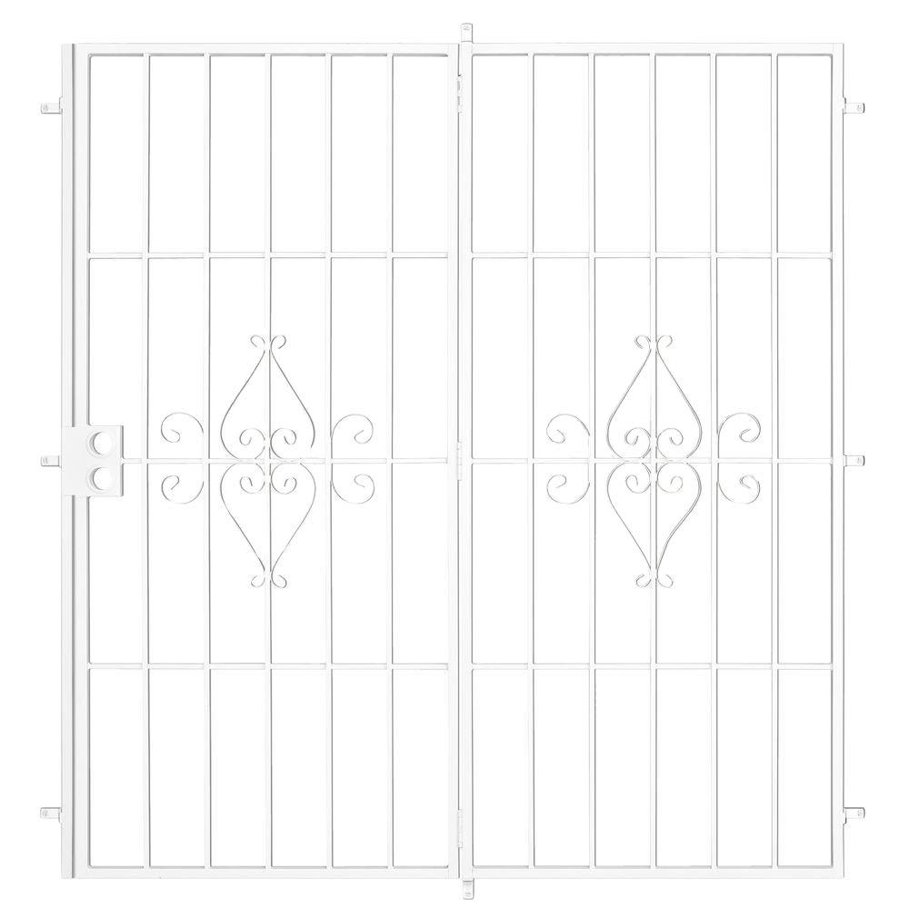 Unique Home Designs 96 in. x 80 in. Su Casa White Projection Mount Outswing Steel Patio Security Door with No Screen