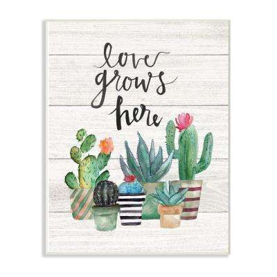"""13 in. x 19 in. """"Love Grows Here Cactus Succulents Watercolor"""" by Jo Moulton Wood Wall Art"""