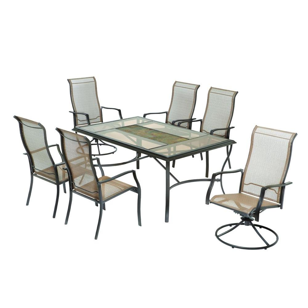 Hampton Bay Anselmo Patio Dining Chairs (6-Pack - 4 Stationary/2 Motion) (Chairs Only)-DISCONTINUED