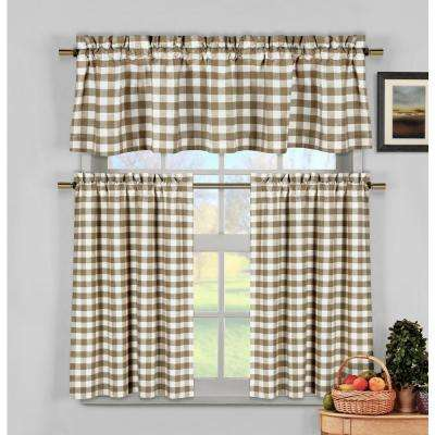 Kingston Taupe Kitchen Curtain Set - 58 in. W x 15 in. L in (3-Piece)
