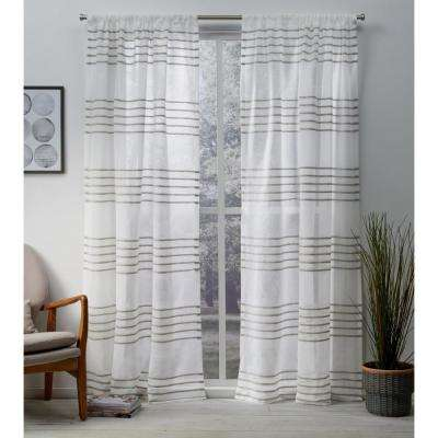 Monet 54 in. W x 84 in. L Sheer Rod Pocket Top Curtain Panel in Taupe (2 Panels)