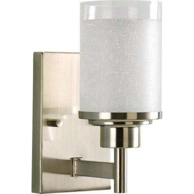 Alexa Collection 1-Light Brushed Nickel Bath Sconce with White Linen Glass Shade