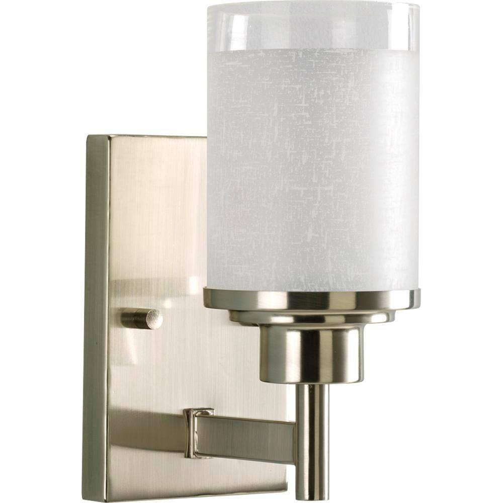 Progress Lighting Alexa Collection 1 Light Brushed Nickel Bath Sconce With White Linen Glass Shade P2959 09