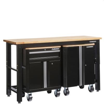 72 in. W x 42 in. H x 24 in. D Steel Garage Cabinet Set in Black (3-Piece)