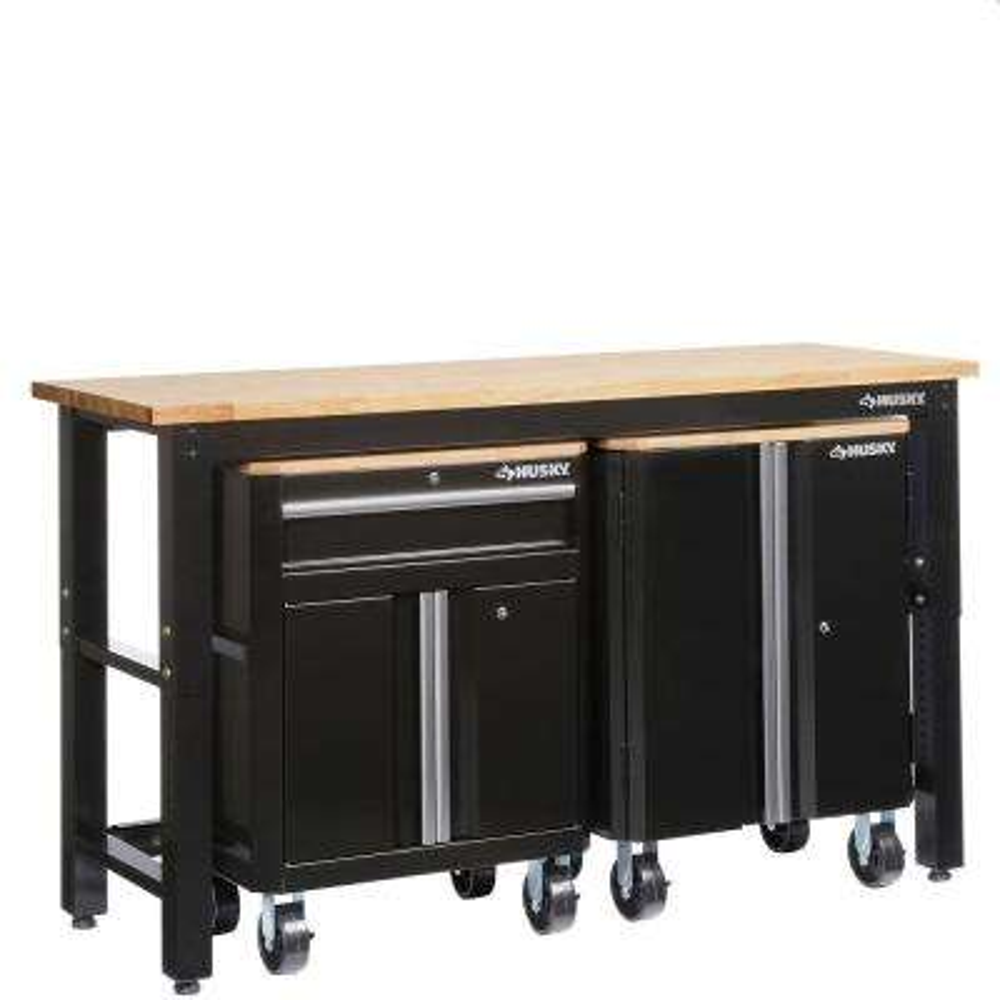 42 in. H x 72 in. W x 24 in. D Steel Garage Cabinet Set in Black (3-Piece)