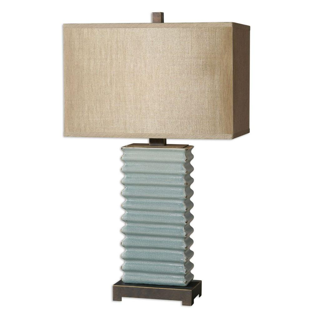Global Direct 29 in. Crackled Blue Table Lamp