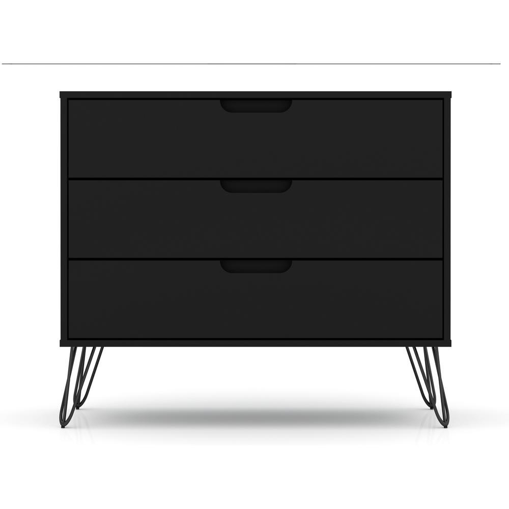3-Drawer Black Mid-Century Modern Dresser