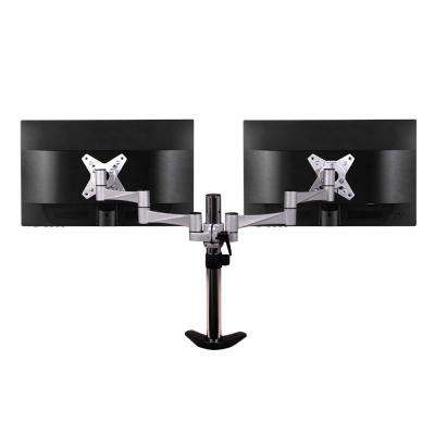 3-Way Articulating Dual Monitor Mount for 13 in. - 27 in. Flat Panel Monitors, Silver