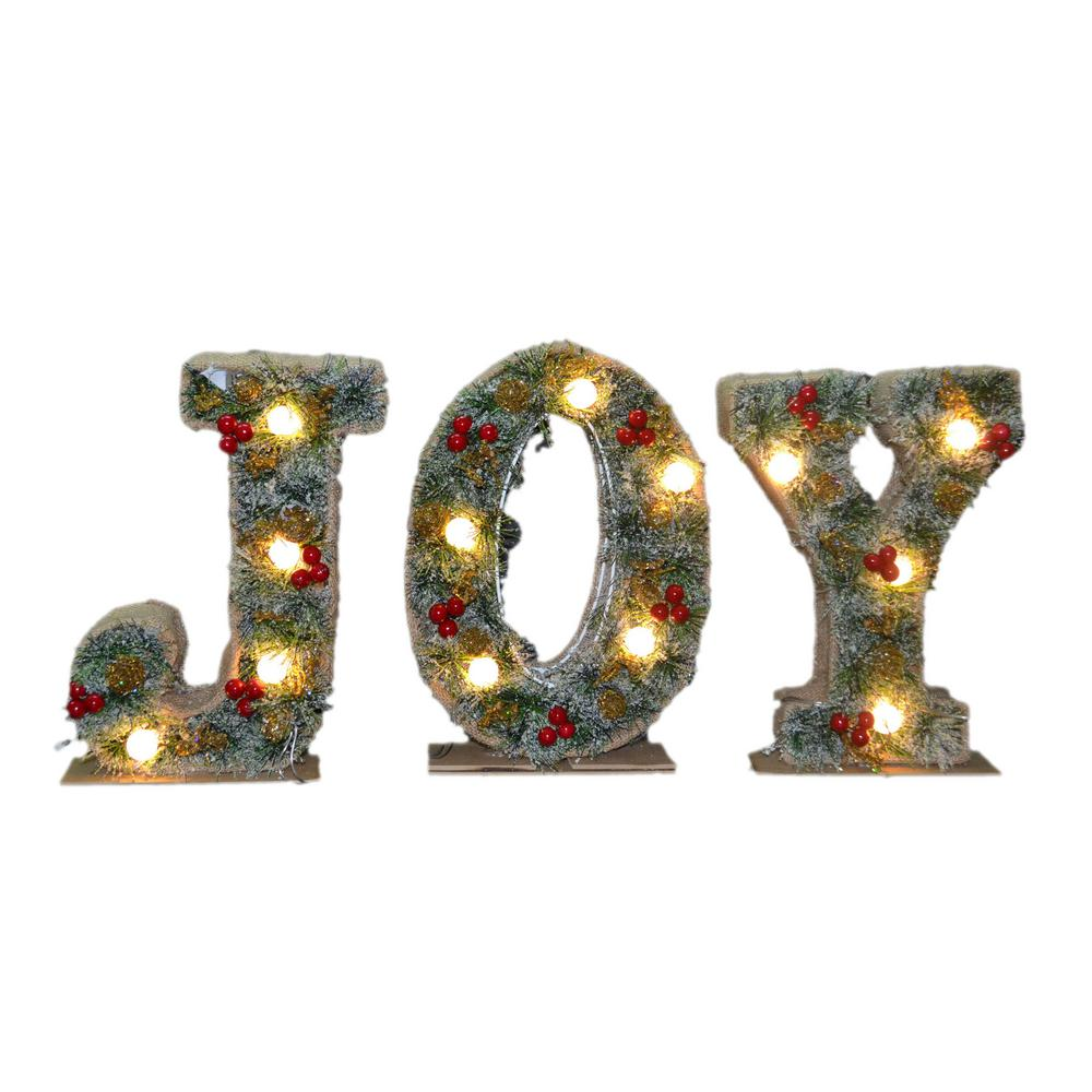 27 in. Pre-Lit JOY Decoration