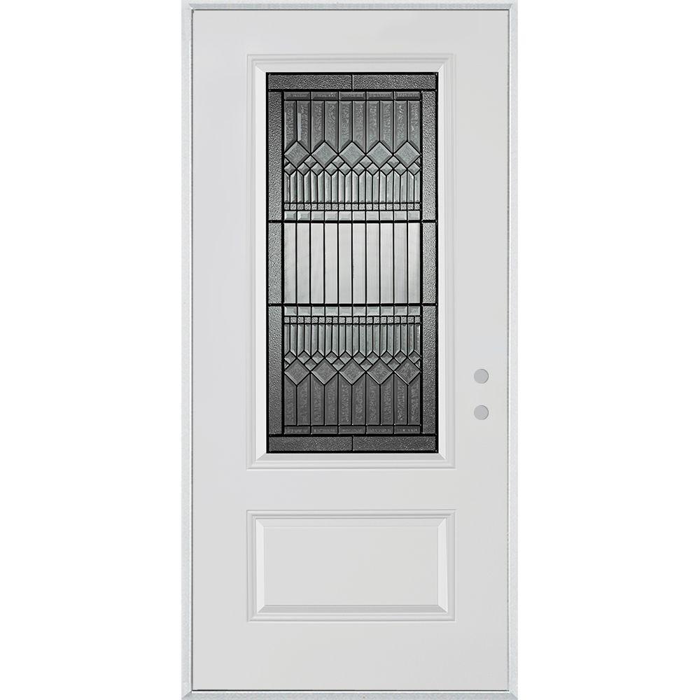 32 in. x 80 in. Lanza Patina 3/4 Lite 1-Panel Painted White Left-Hand Inswing Steel Prehung Front Door