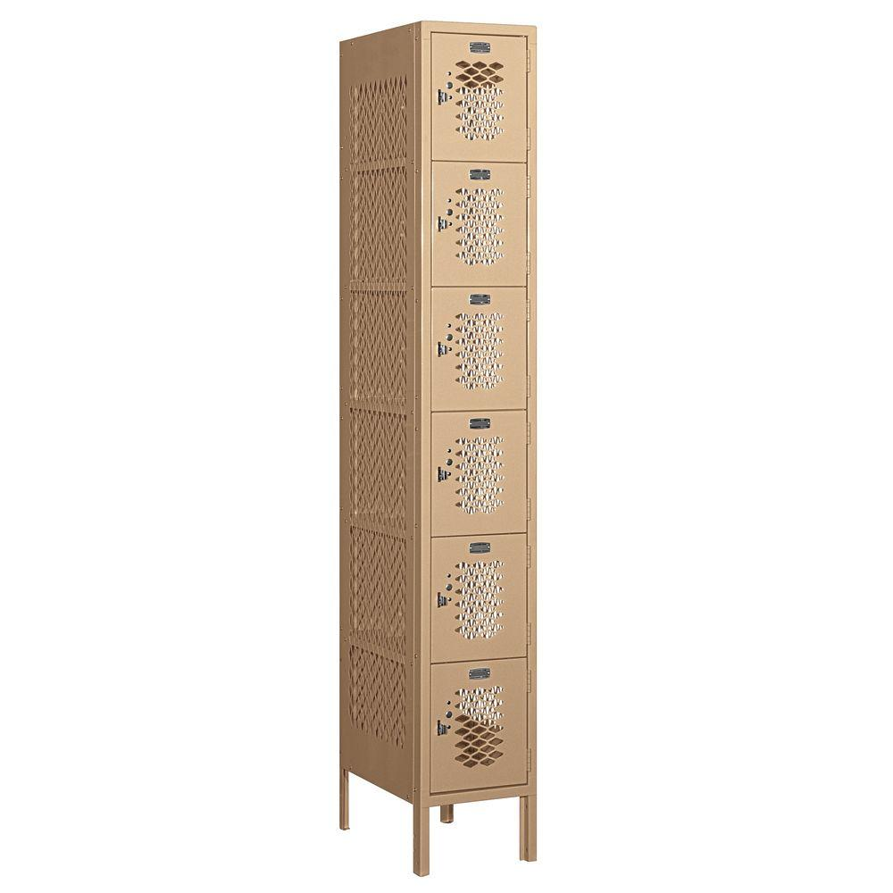 Salsbury Industries 76000 Series 12 in. W x 78 in. H x 18 in. D Six Tier Box Style Vented Metal Locker Assembled in Tan