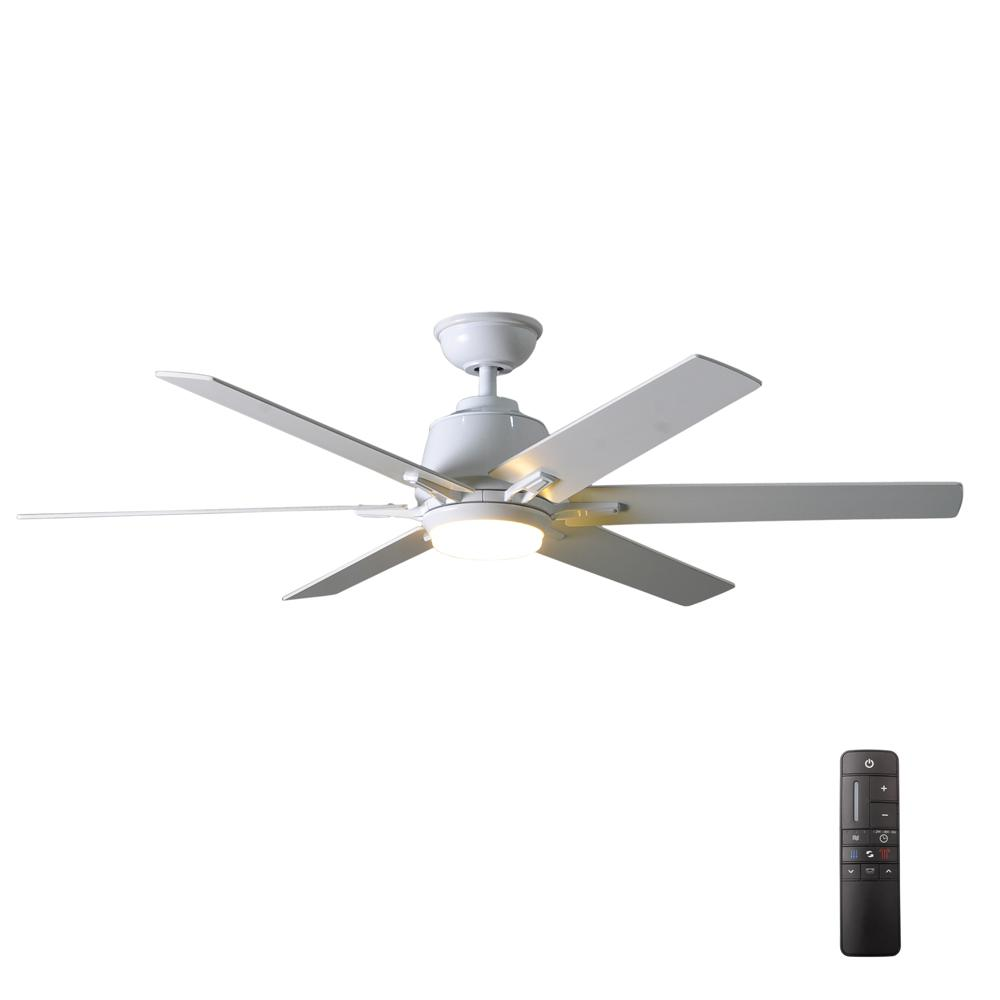 Home Decorators Collection Kensgrove 54 In Integrated Led Indoor White Ceiling Fan With Light Kit